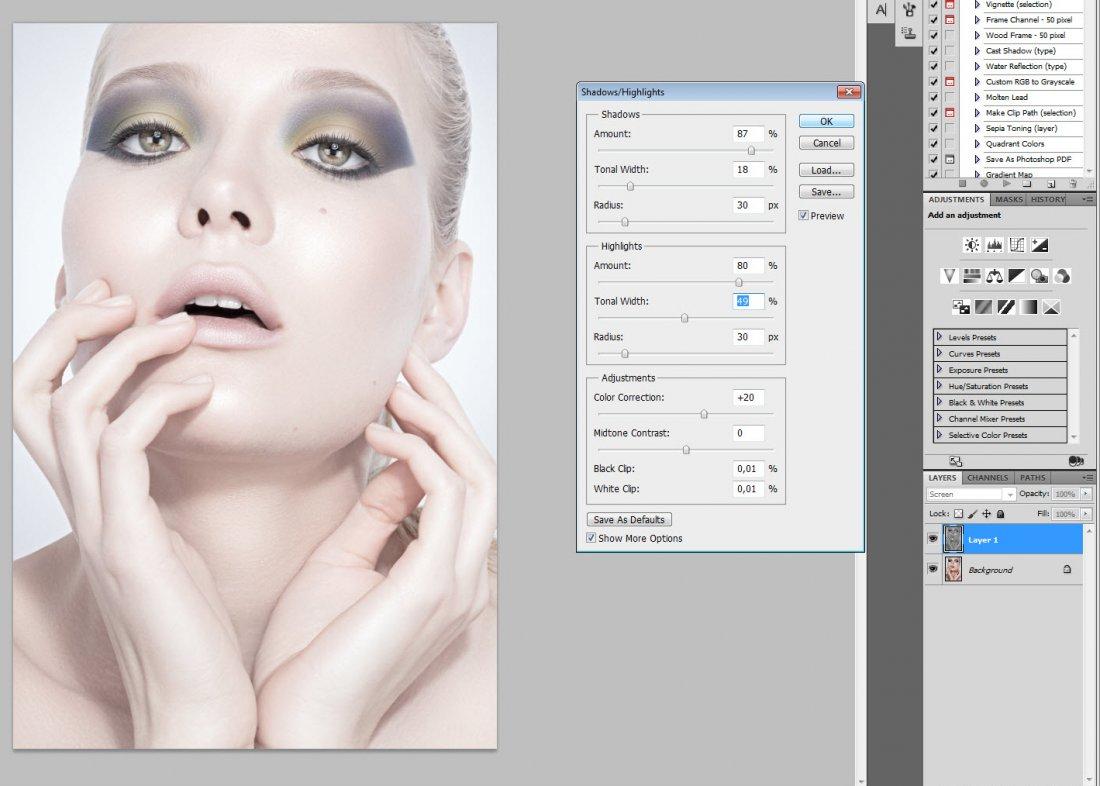 Как сделать цвет лица в фотошопе